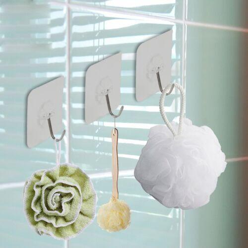 Strong Adhesive Seamless Transparent Hooks Kitchen Wall Towel Key Hanger Hook 4x