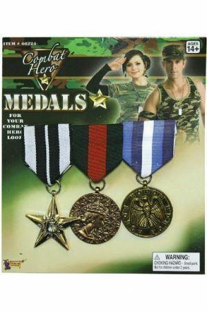COMBAT HERO MEDALS ARMY SOLDIER VETERAN FANCY DRESS COSTUME KIDS ADULT MILITARY