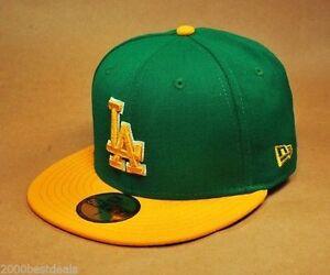New Era 59Fifty Baseball Hat Cap Los Angeles Dodgers Green Gold ... a28501e3c24