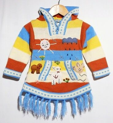 Gr.92*98 Pullover-Fransen Kleid,blau weiss XXL-Zipfelkapuze,Tiere+Alpaka Peru
