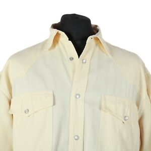 Vintage-Yellow-Pearl-Popper-Western-Shirt-Cowboy-Denim-Retro-Snap-Jean-Wash