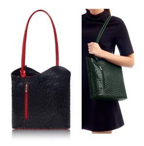 Handbag-Ladies-Italian-Leather-Black-Red-Shoulder-Bag-Backpack-Ostrich-Effect