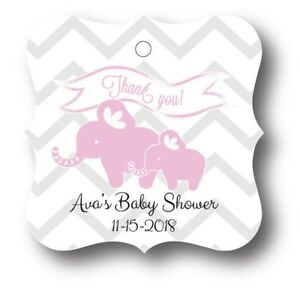 24-Pink-Elephant-Baby-Girl-Shower-Favor-Tag-Personalized