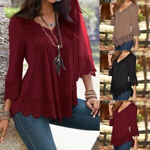 Plus-S-XL-Fashion-Women-Lace-Crochet-Floral-Bell-Sleeve-Loose-Blouse-Tops-Shirt