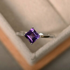1.50 Ct Princess Diamond Engagement Amethyst Ring 925 Sterling Silver Size 5 6 7
