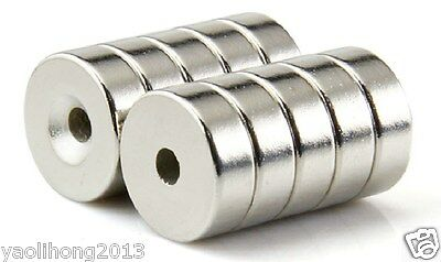 20pcs Strong N50 Round Neodymium Countersunk Ring Magnets 15mm x 4mm Hole 5mm