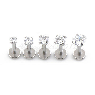 """18g 1//4/"""" 2,2.5,3mm Gold Plated Prong Set Clear Stone Tragus Triple Forward Helix"""