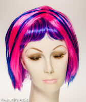 Wig Short 2 Tone Hot Pink & Blue Synthetic Wig With Bangs
