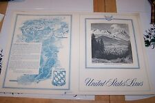 United States Lines Menu Cover 1960, Bavaria, New Old Stock