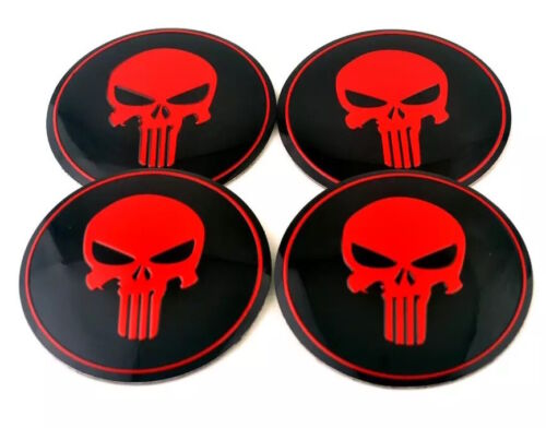 """4 Pack Wheel Center Caps Red Punisher Sticker Decal Dome Metal 2.20/"""""""