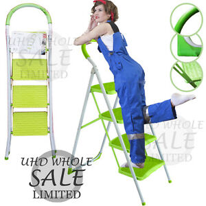 4 Step Heavy Duty Foldable Safety Ladder Kitchen Stool Non