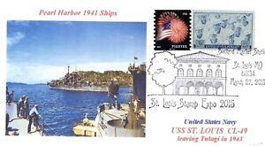 Uss-St-Louis-CL-49-Crucero-Pearl-Harbor-1941-Barco-Cachet-Missouri-Grafico-Pm