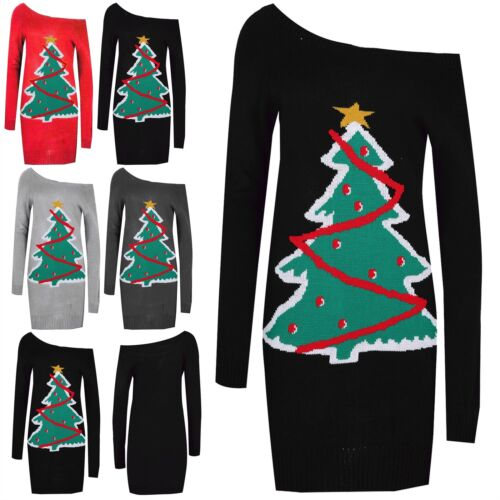 Womens Christmas Tree Ladies Off Shoulder Xmas Knitted Bardot Jumper Mini Dress