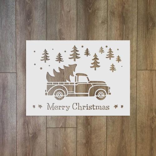 Feliz Navidad texto con árboles y Camión-Navidad//Invierno reutilizable de plástico