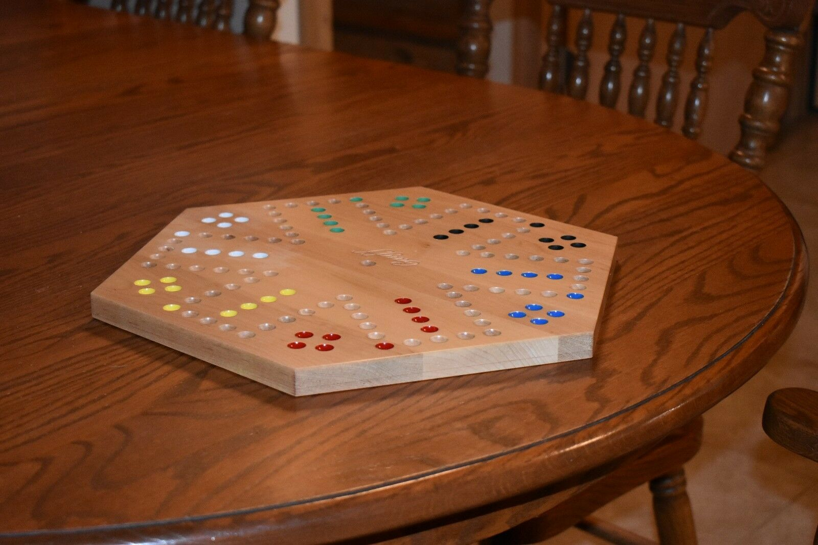Solid Maple Double Sided Aggravation Aggravation Aggravation Marbles Board Game Hand Painted 20 inch bf4b64