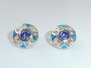 Damen-Handarbeit-Sterling-Silber-925-Opal-Saphir-Tansanit-Ohrstecker