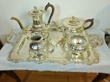 """RIDEAU PLATE BY BIRKS 5 PC. GADROON & SHELL TEA & COFFEE SET with 25 1/2"""" TRAY"""