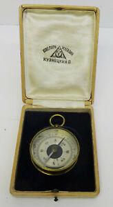 Antiker-kleiner-Russischer-Kompass-im-Messinggehaeuse-originales-Holzetui