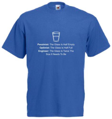 Glass Half Full Empty T Shirt Novelty Science Nerd Tee Funny Xmas Birthday Gift