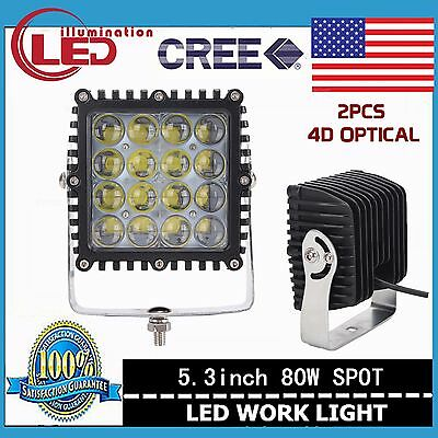 2X 80W CREE LED Work Light Spot Lamp Square Driving Offroad Truck UTE 4D Optical