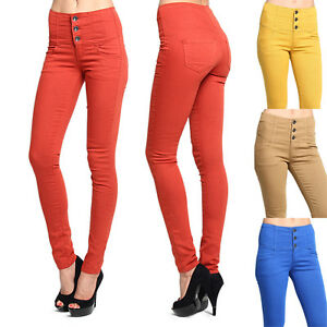 MOGAN 3 Button HIGH WAISTED SKINNY JEANS Colored Washed Denim Slim ...