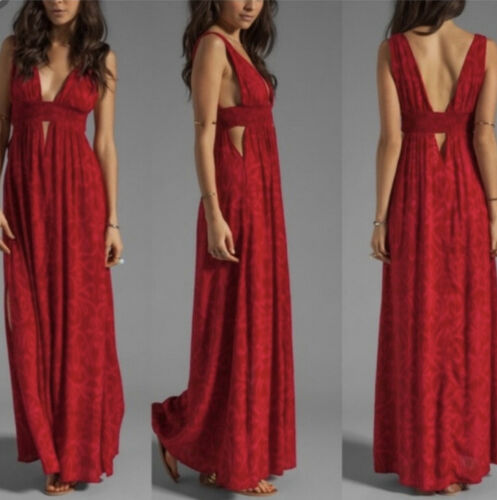 Indah Anjeli Cut Out Maxi Long Dress Antik Red XS