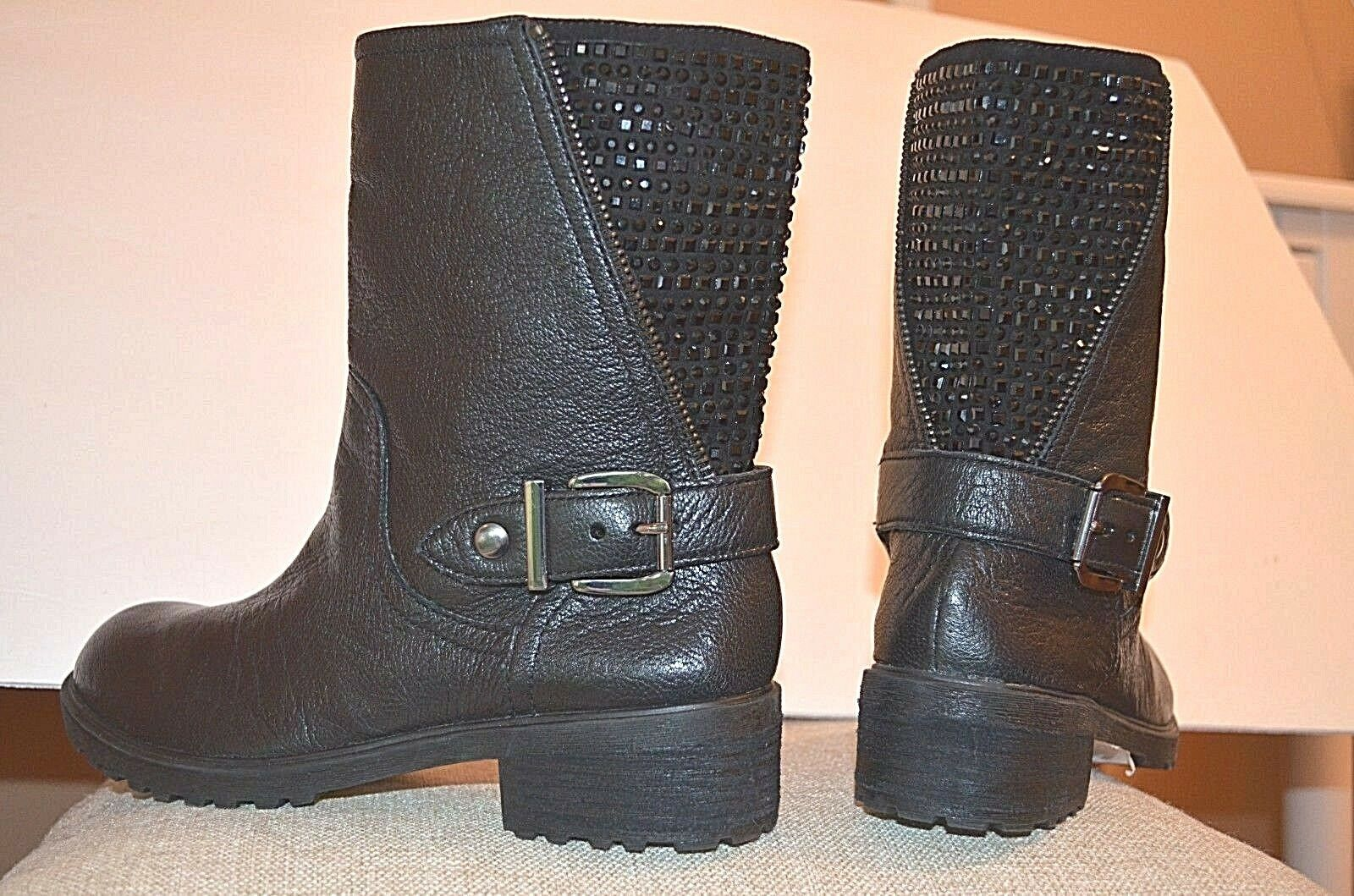 Womens Ankle Boots Leather Rhinestones Gianni Bini Combat Riding Moto Narrow 6