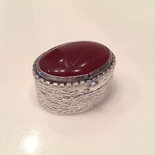 Antique  SOLID SILVER Snuff Box MARKED 1000 with LARGE CARNELIAN