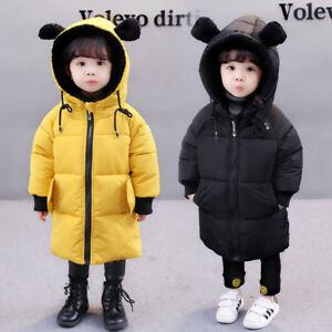 Kids Warm Snowsuit Cotton Down Jacket Girls Boy Winter Hooded Short Coat Outwear