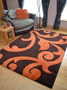 Brown Orange Scroll Carved Modern Soft Thick Rugs Small Extra Large ...