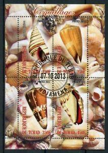 Chad-2013-CTO-Conchiglie-Sea-Shells-4-V-M-S-COQUILLAGES-Marine-FRANCOBOLLI