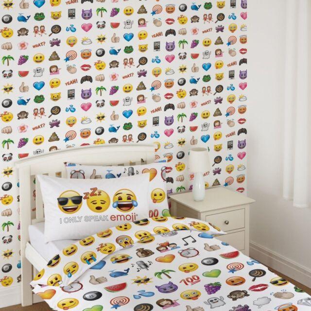 OFFICIAL EMOJI WALLPAPER KIDS BEDROOM FEATURE DEBONA WALLCOVERINGS