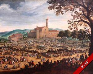 fair at impruneta florence italy italian landscape oil painting art