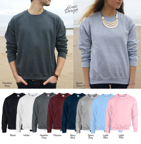 Unisex Gildan Plain Heavy Blend Sweatshirt Sweater Jumper Crewneck Mens Womens