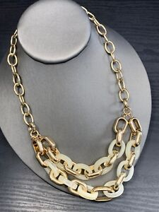 """Vintage Signed BR Banana republic Gold Necklace White Chunky Well Made 18"""""""
