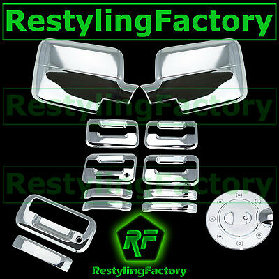 04-08 Ford F150 Chrome Mirror+4 Door Handle+no keypad+keyhole+Tailgate+Gas Cover