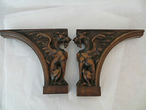Image Is Loading Pair Of Antique Wooden Winged Lions Shelf Brackets