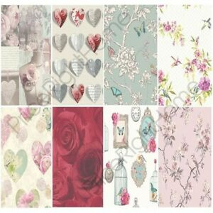 SHABBY CHIC FLORAL WALLPAPER IN VARIOUS DESIGNS WALL DECOR NEW | eBay