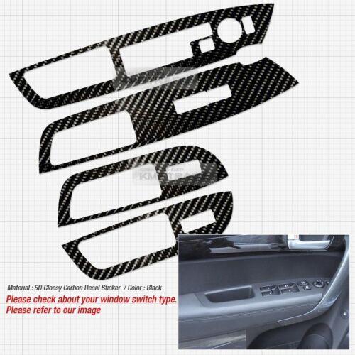 Interior Window Switch 5D Glossy Shiny Carbon Decal 4P For KIA 2010-14 Sorento R