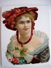 Vintage Die-Cut of a Woman in a Red Hat / Can Be Used for Scrap Booking *