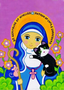 St-Gertrude-of-Nivelles-Patron-Saint-of-Cats-Fine-A4-Canvas-for-Sale-from-UK