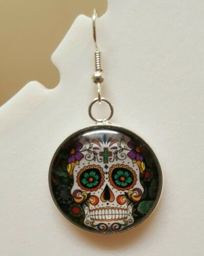 Details about  /Dia de los Muertos Sugar Skull Dangle earrings
