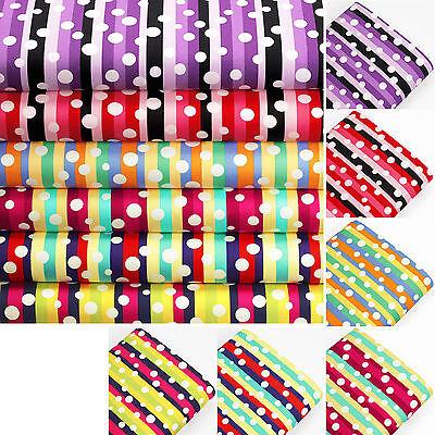 Cotton Fabric by Fat Quarter White Retro Polka Dot Spot Stripe LuckyFabrics VK56