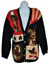 The Eagles Eye Patriotic Cardigan Sweater Bear Deer Eagle National Wildlife Sz L