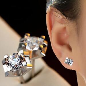 Gift-Women-Men-Jewelry-Zircon-Ear-Studs-Silver-Plated-Crystal-Earrings
