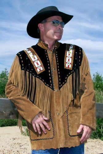 herren jacke Western Suede leder Fringe Beads Native American Style mäntel New