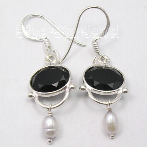 Black Onyx Vintage Style Dangling Earrings Solid Sterling Silver Gemstone