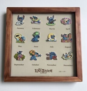 LE-100-Japan-Disney-Store-12-Pins-Frame-Year-of-the-STITCH-Lilo-Frog-Duck-Sparky