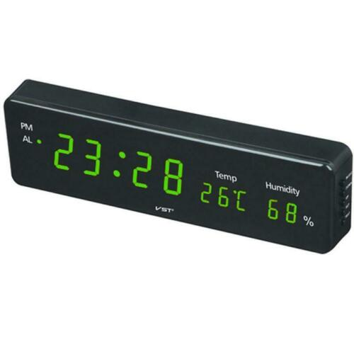 Electronic Alarm Wall Clock LED LCD Screen Thermometer Hygrometer Digital