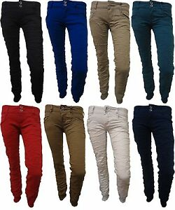 e5f96d4f4d26 Image is loading LADIES-WRINKLE-STRETCH-CHINO-TROUSERS-WOMENS-SKINNY-CUFFED-